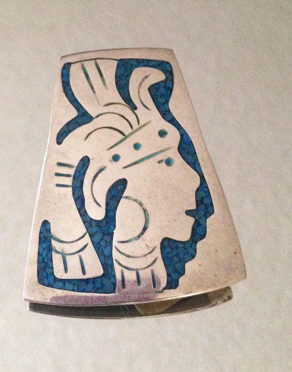 Aztec Warrior w/Headdress Taxco Mexico Sterling by LeSoleilShining