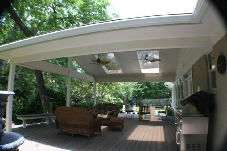 White Patio Cover With Skylights And Ceiling Fans Patio Cover Ideas Pinterest Custom Decks