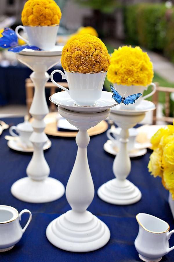 Royal blue yellow bridal shower tablescapes pinterest