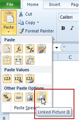 excel scroll bar paste as a linked picture