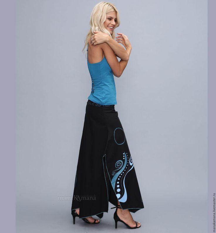 Купить Женские летние брюки-юбка - черный, орнамент, бохо, шанти, субкультуры, хлопок, психоделика