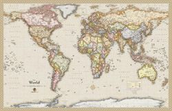 """Wall Map of Antique Style World  by OutlookMaps from Maps.com. 33"""" x 50"""" $70"""