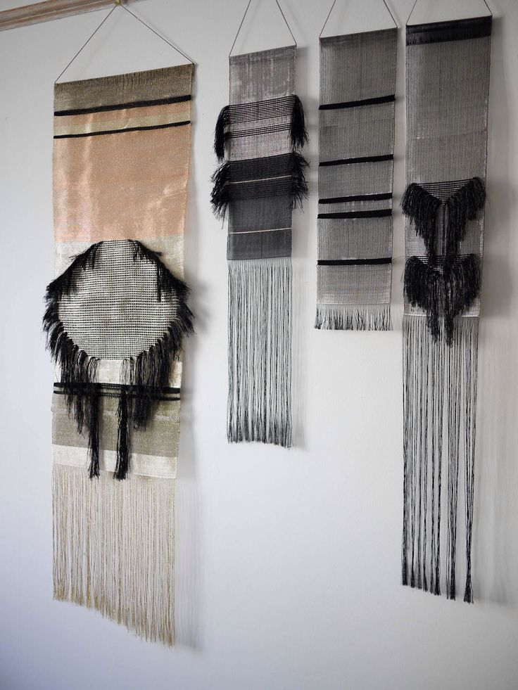 Weavings by Justine Ashbee for Native Line woven with metal threads, copper and silver, wall hangings: