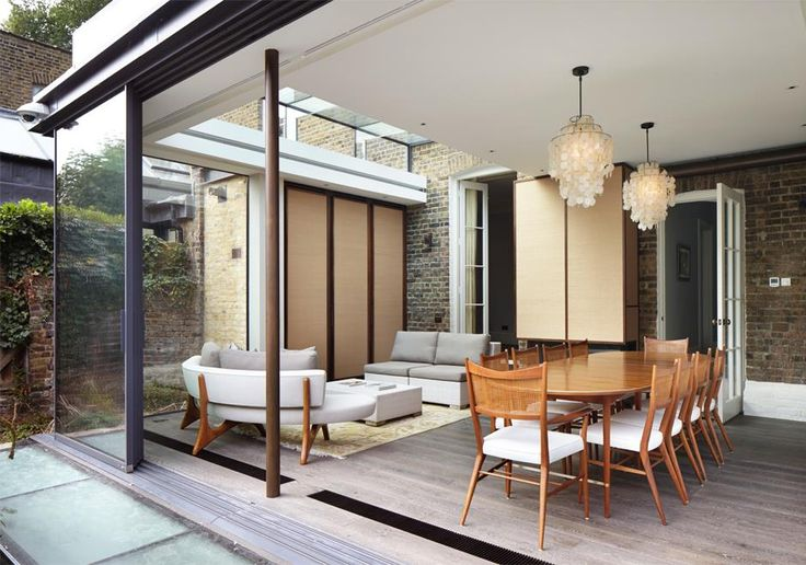 Simple tasteful extension to a listed period home in Richmond. Glass sliding screens can open up or close of the space from the garden.