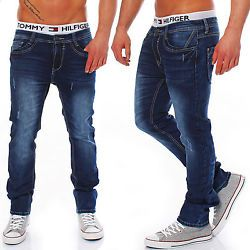 Rerock Herren Jeans Jogginghose Mix Sweatpant Skinny Röhre slim dark 34-3302