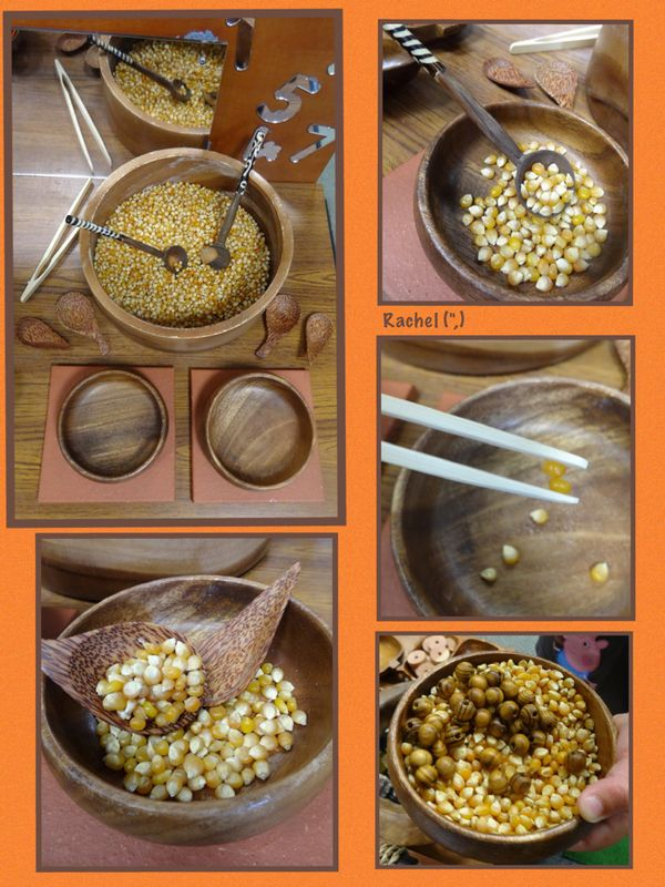 "Using fine motor skills to transfer popcorn kernels (and beads!) from Rachel ("",)"