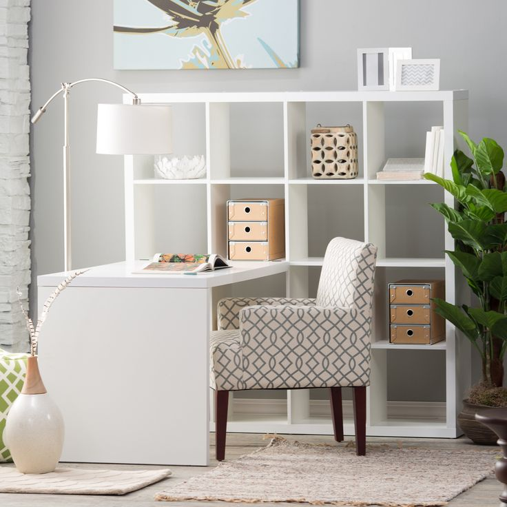 Hudson 16-Cube Shelf with Desk - White - The contemporary 16-Cube Shelf with Desk – White brings efficient storage and a comfortable work surface to the home or office. A wonderful...