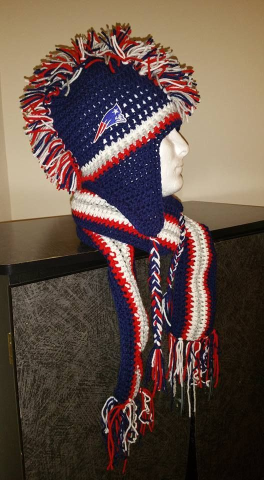 New England #Patriots Inspired Handmade Crochet #Mohawk Hat GREAT item http://www.bonanza.com/listings/401383794