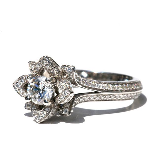 Two Rows - UNIQUE Flower Rose Diamond Engagement Ring - 2.50 carat -... ($8,300) ❤ liked on Polyvore