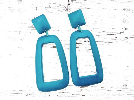 Wood Geometric Earrings, Statement Blue Drops, Long Boho Stud Earrings, Ethnic Wooden Jewelry For Her, Large Colorful Accessory For Summer #BohemianSummerTales #longdropearrings #geometricstudearrings #woodstuds #summerjewelry
