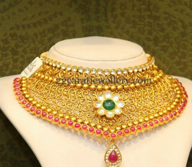 Jewellery Designs: Antique Bridal Floral Choker