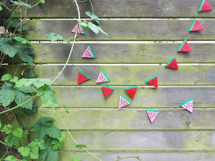 DIY Create a beautiful Hama bead bunting of watermelons.