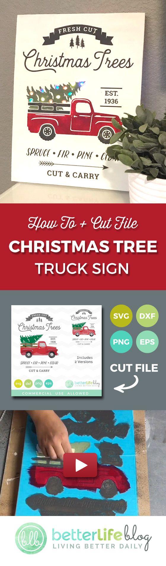 Christmas Tree Truck Sign Tutorial (plus tips to prevent bleeding)