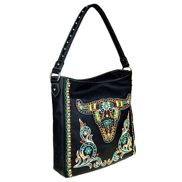 Montana West Embroidered Collection Concealed Handgun Hobo Bag