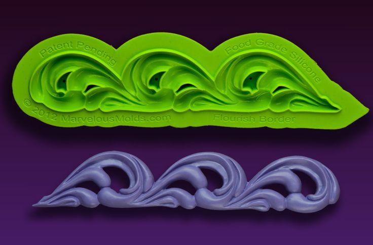 Flourish Border Silicone Sculpted Scroll Mold