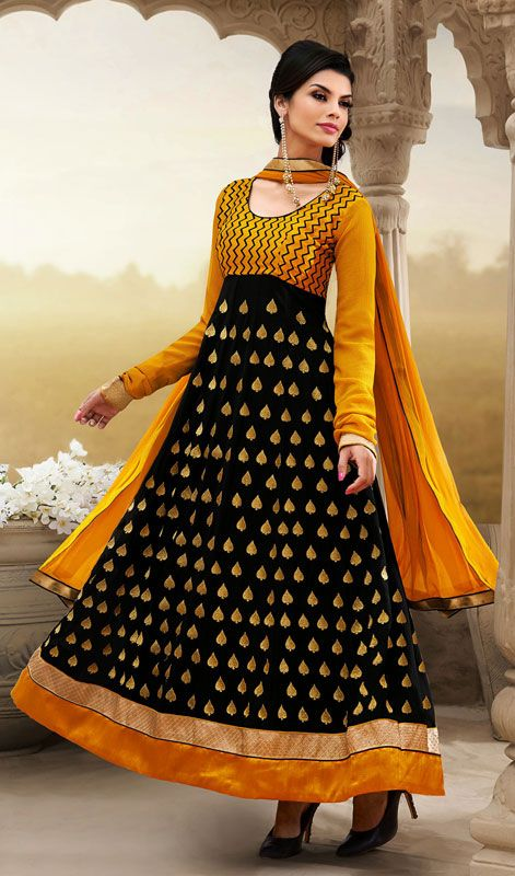 Black and Yellow Georgette Long Anarkali Churidar Suit Price: Usa Dollar $115, British UK Pound £68, Euro85, Canada CA$123 , Indian Rs6210.