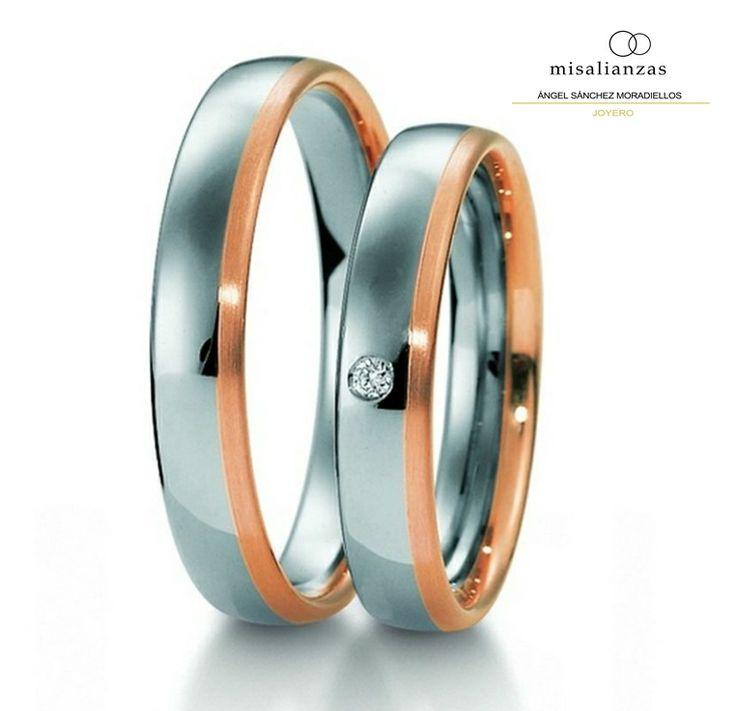 #Alianzas modernas de oro rosa y blanco, con brillante #novios #complementos #boda