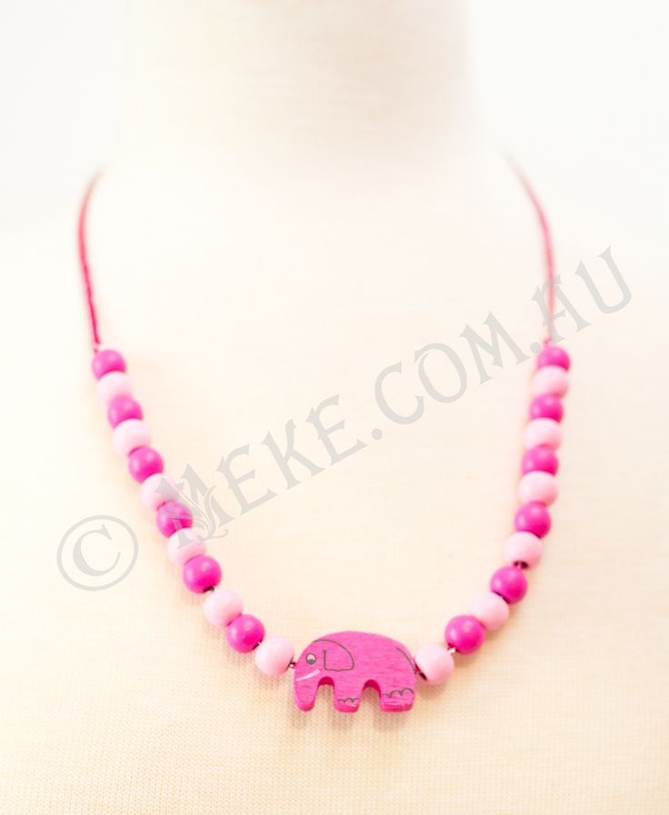 : : Elephant Princess Necklace : :  Your little princess will look adorable in this handcrafted children's necklace featuring a bright pink timber elephant centrepiece bead and matching round timber beads on a dainty pink and silver ribbon. Too cute!!  Visit my Etsy store for more info, or to purchase: https://www.etsy.com/au/listing/153871423/elephant-princess-childrens-necklace?ref=related-4  Handmade with love and care by Marianne ❤