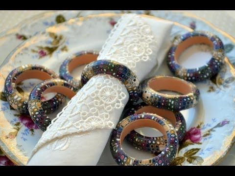 ▶ Napkin rings from polymer clay-Кольца для салфеток из полимерной глины - YouTube