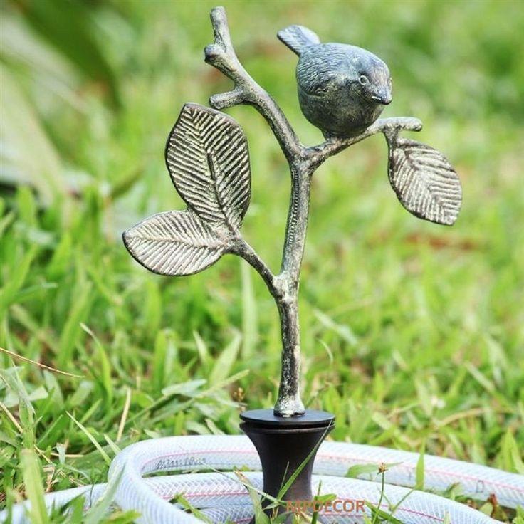 Bird On Branch Hose Guard Guide Verdi Garden Decor Metal Plant Stake #NA #Whimsical