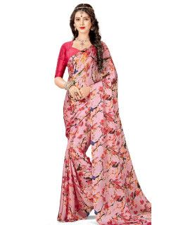 Superior Pink And Multi-Color Satin Saree.