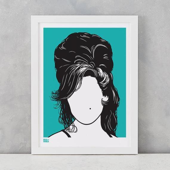 Amy Winehouse Screen Print Amy Winehouse Wall Art Amy Etsy Music Wall Art Screen Printing Prints