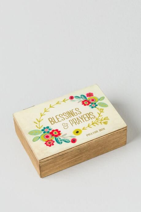 Floral Blessings and Prayers Wooden Prayer Box $16.00