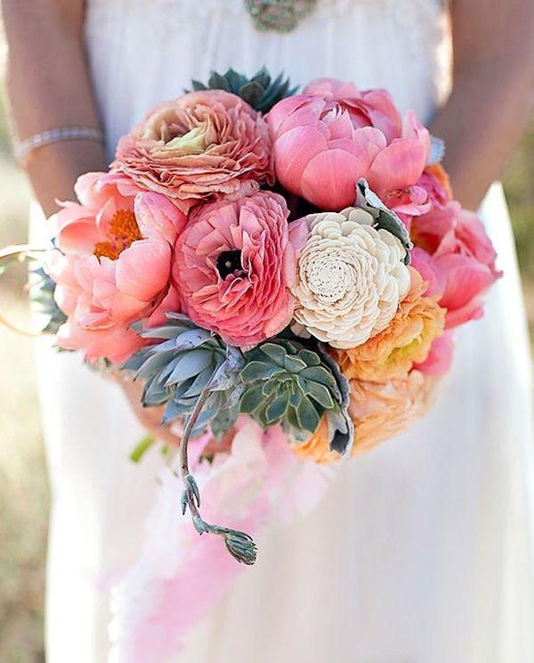 bruidsboeket met vetplanten