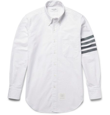 THOM BROWNE Slim-Fit Striped Cotton Oxford Shirt. #thombrowne #cloth #casual shirts