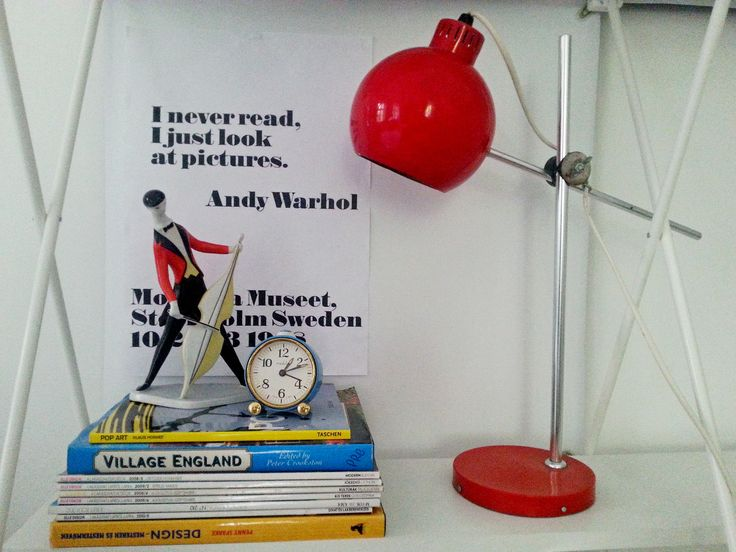 Retro red 70's ball desk lamp