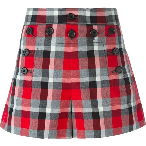 Marc Jacobs Sailor Check Shorts ($733) ❤ liked on Polyvore featuring shorts, red, highwaist shorts, high-rise shorts, sailor shorts, checkered shorts and red shorts
