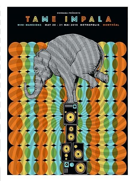 Tame Impala / Mini Mansions gig poster by Pat Hamou