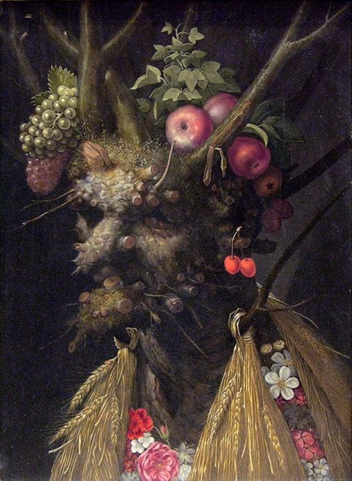 Giuseppe Arcimboldo was an Italian painter famous for creating imaginative portrait of heads made of fruits, vegetables, flowers, fish, and books. This is 'Allegorical Head of the Four Seasons' (1587)