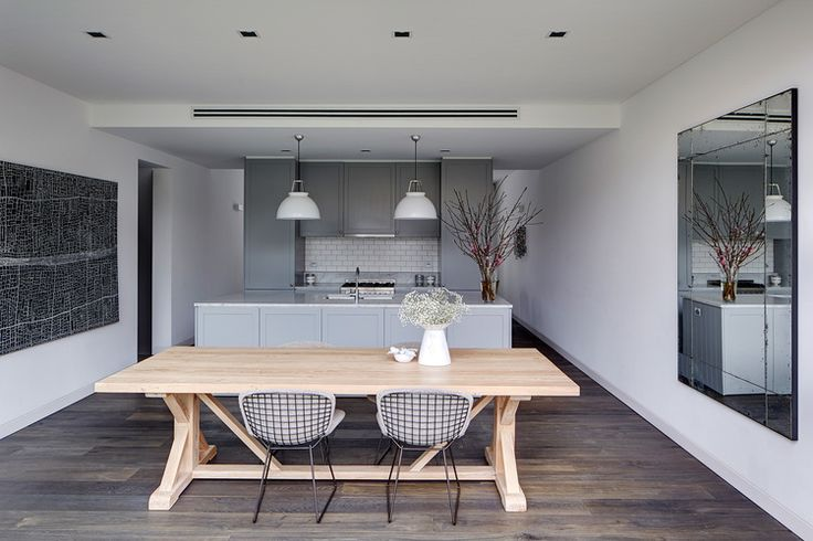 grey kitchen, light dining table