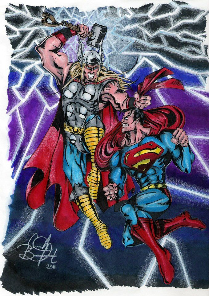 Thor Beating Superman | Superman Vs Thor Marvel's thor vs ...