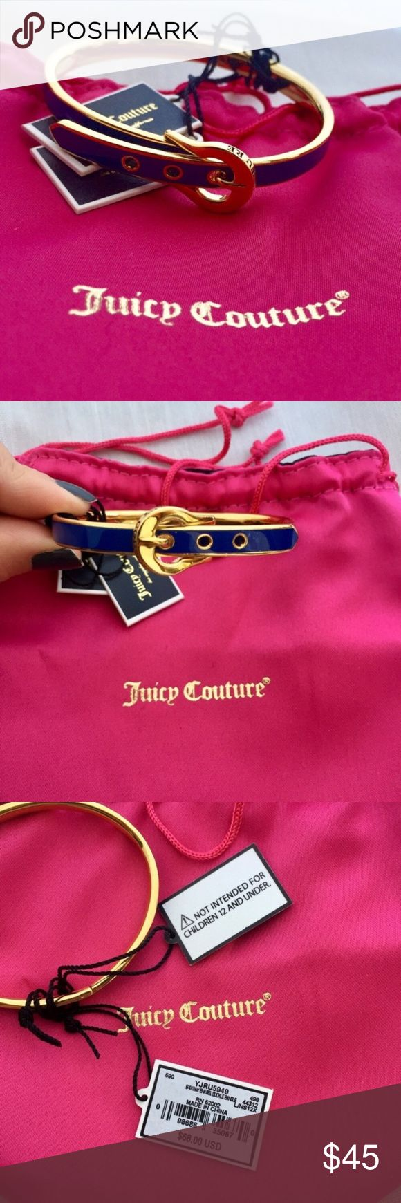 NWT Juicy Couture Enamel Bracelet Authentic Bracelet is in navy enamel color with gold tone trim. The belt buckle design allows for 3 adjustable sizes. Comes with original dust bag - small stain on back of the dust bag. Retails for $68 Purchased directly from Juicy Couture's website. Juicy Couture Jewelry Bracelets