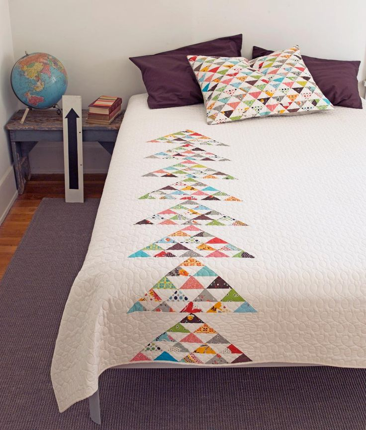Beautiful Modern Quilt...love the matching pillow I love this because I would hate making tons of those squares.
