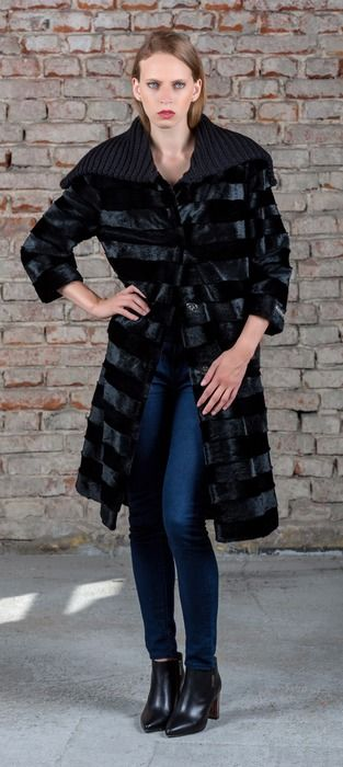 SC seal style coat is made of luxury sheared rabbit fur.
