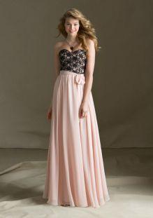 black lace and pink chiffon two tone strapless long bridesmaid dress