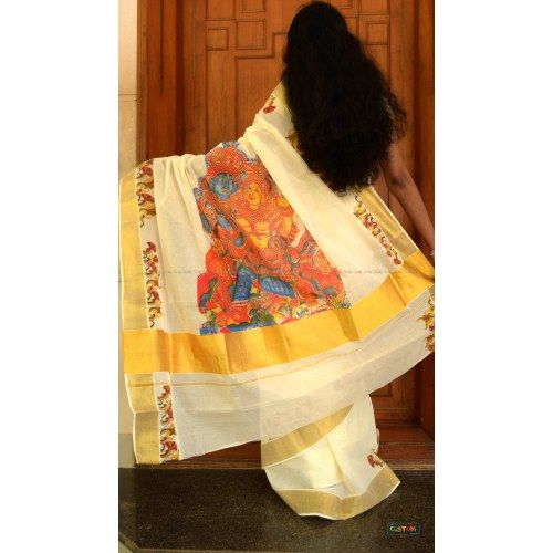 Fabric printed Kerala kasavu saree | Indian Sarees by Craftsvilla for ...: pinterest.com/pin/19773685837579249