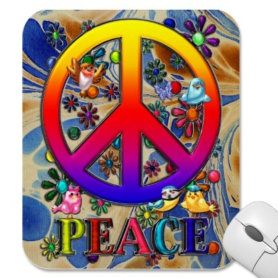 $ 13.15 Mousepad; Modern Retro Peace Sign Text Birds & Flowers II  The Word Peace, Modern Retro Vibrantly Colored Rainbow Gradient Faux 3-D Peace Sign, Birds & A Blue & Lavender Butterfly Colorful Floral Design. Done as traditional artwork, then completed & given faux metallic textures, using Adobe Photoshop CS2.