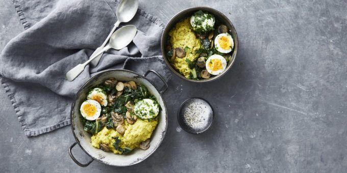 I Quit Sugar - Buttery Mushroom Porridge + Parsley Rolled Eggs