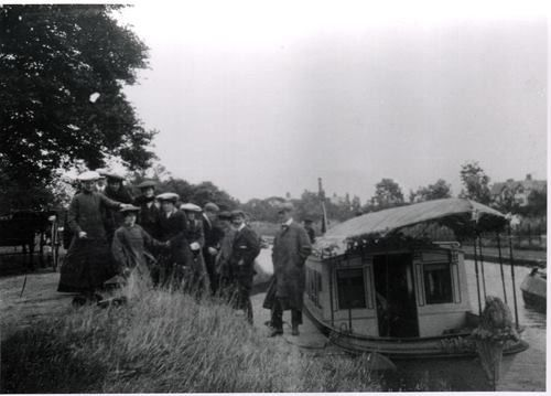 Lord Ellesmeres Barge on the Bridgewater canal, Worsley  no date
