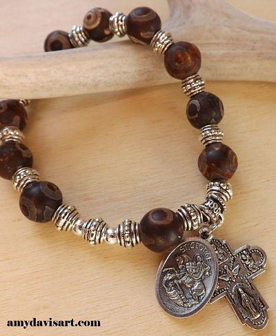 Men's Rosary Bracelet Brown Agate Beads St. George by AmyDavisArt