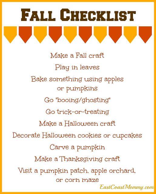 East Coast Mommy: Simple Fall Checklist {free printable}