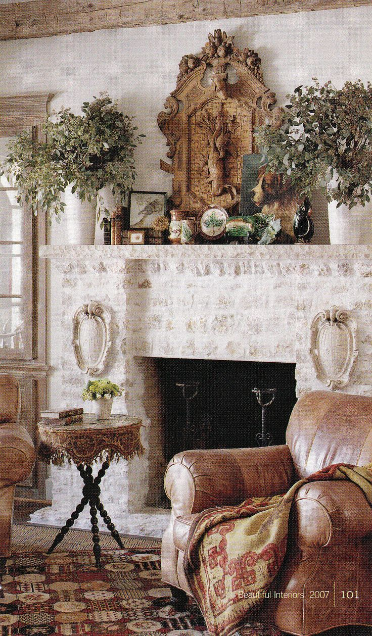 Decorating the mantel for the home living rooms pinterest fireplaces french country house - Fireplace mantel designs in simple and sophisticated style ...
