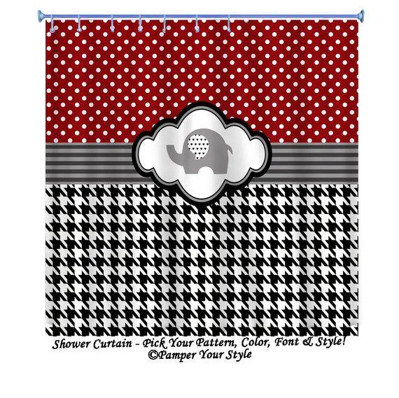 Alabama Shower Curtain Houndstooth And Polka Dot Shower Curtain