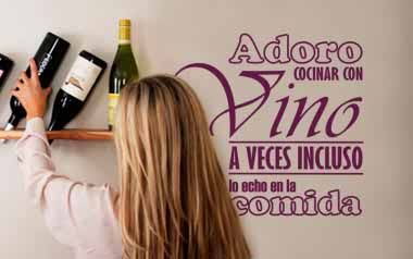 Vinilo Adoro cocinar con vino