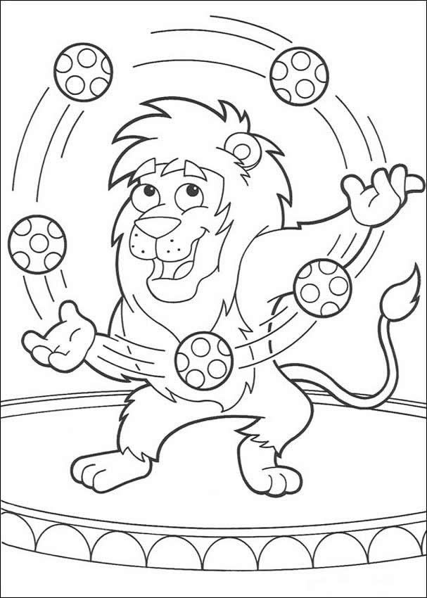 lion juggling with balloons coloring page