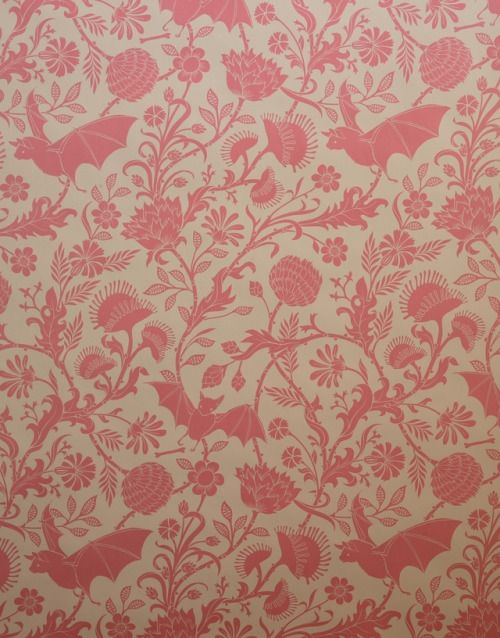 Flavor Paper's Elysian Fields designed by Dan Funderburgh - Carnivorous Plants and Bats on Hand-screened Wallpaper; Antique Pink on Oatmeal Clay Coated Paper.